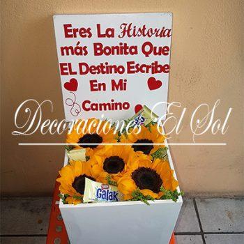 """Arreglo Floral """"Las cajas del Amor"""" De Girasol"""